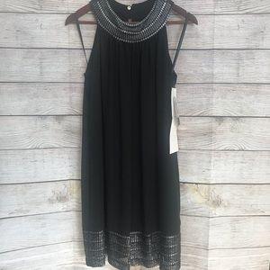 NWT SLNY Formal Black Dress with Silver Trim